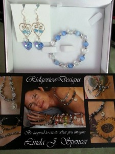 Ridgeview Designs blue crystal set for Georgetown Bread Basket auction Sept 2014